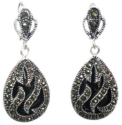 FREE SHIPPING wb003 Natural Black stone Teardrop Silver Marcasite Earrings