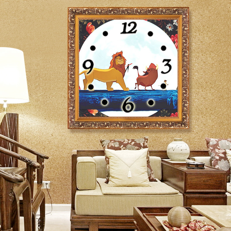 Lion King Home Decor Diamond Embroidery Wall Clock Wall Watches Decoration  Diamond Painting Cross Stitch Painting