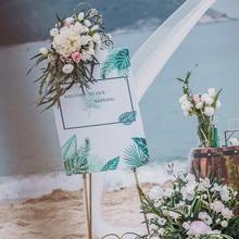 цена Wedding Sign Artificial Flower Welcome Sign Hotel Sign Wedding Welcome Card Home Door Wall Decoration онлайн в 2017 году