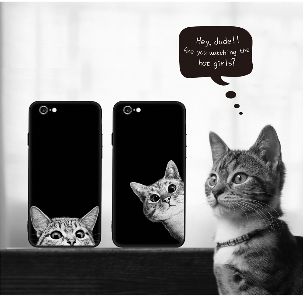 Cat Design Black iPhone Case Cover