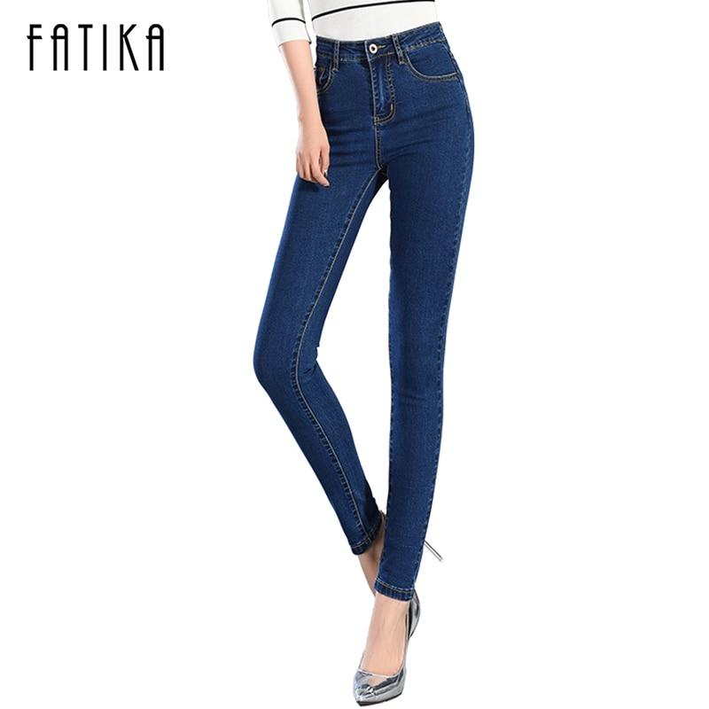 Fatika 2017 Для женщин джинсовые узкие брюки стрейч Джинсы для женщин женские узкие штаны Для женщин Высокая талия плюс бархат зима теплая Джинс...