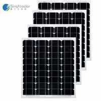 Pannello solare 50 w 12 V 4 pz/lotto Panneaux Solaire Batteria Solare 200 W Cina Cargador Solare Caravan Luce Solare autocaravanas