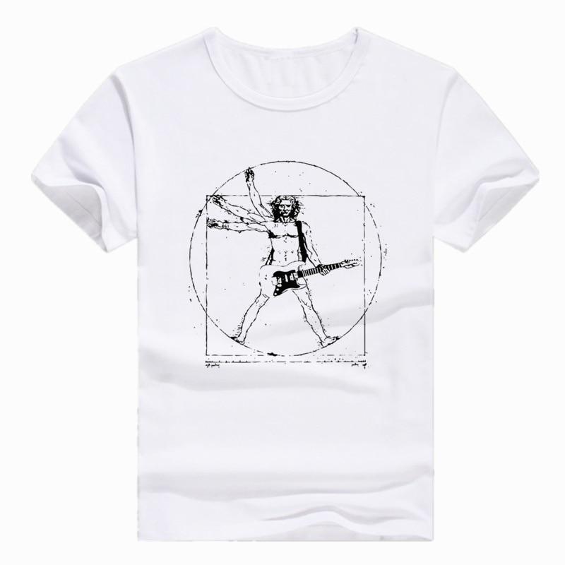 Asiático Tamanho da Impressão Da Vinci Rock Guitarra Música Engraçado T-shirt de manga Curta O-pescoço Camiseta Para Homens Mulheres HCP767