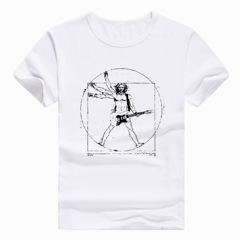 Tamanho asiático impressão da vinci rock guitarra engraçado camiseta manga curta o-pescoço tshirt para homem feminino hcp767