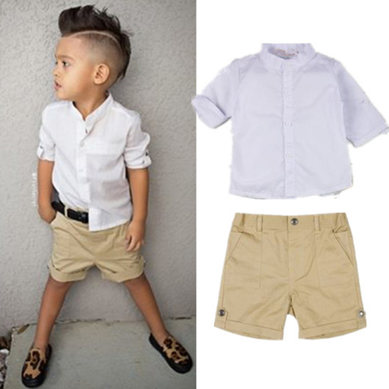 Boys clothes suit shirt + shorts 2 pieces short-sleeved T-shirt shorts suit jacket casual clothes children's set free shipping