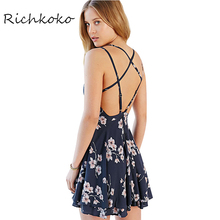Richkoko Apparel Sweet Floral Print Mini Dress Sexy Cross Back Cami A-Line Dress Casual Backless Crew Neck Beach Short Vestidos