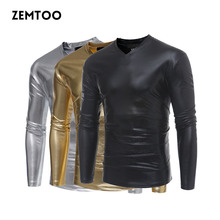 Fashion Hiphop T-Shirt Men Swag Long Sleeve Mens Stage Wear Nightclub Slim Fit Gold Silver T Shirts Male Clothes for Men ZE0427