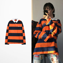 2019 Autumn Men Long Sleeve Orange Color Polo Shirt Fashion Design Harajuku Strip High Quality Men Polo Shirt Male Luxury
