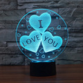 7 Color Change Abstract Vision Amazing Optical Illusion Three-Heart I LOVE YOU 3D Effect Touch Key Home Novelty Night Light