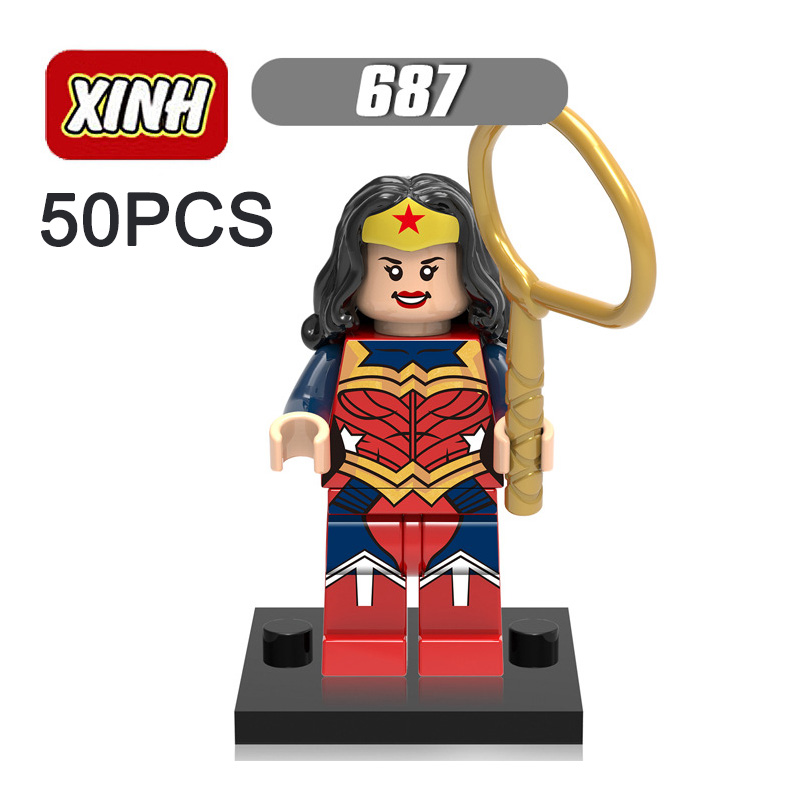 Pogo Lepin Wholesale 50PCS XH687 Wonder Woman Avengers Marvel Super Heroes Building Blocks Bricks Toys Compatible Legoe xh 068 строительные блоки super heroes мстители флэш барри аллен красный молодые юстиции minifigures дети мини кирпичи игрушки