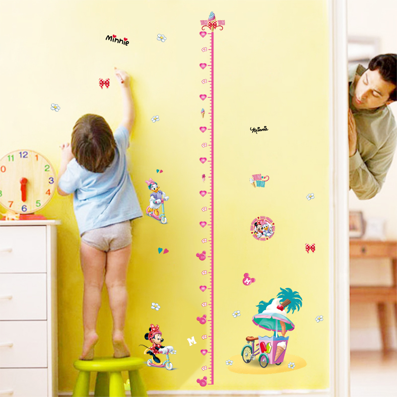 Cartoon Mickey Mouse Minnie Daisy Donald Height Measure Growth Chart Kids Girls Bedroom Stikcers Home Decor Decal ...