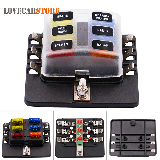 max 32v plastic cover 6 way blade fuse box holder m5 stud led max 32v plastic cover 6 way blade fuse box holder m5 stud led indicator for