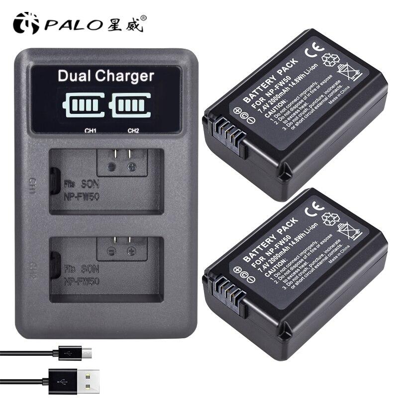 2 piezas 2000 mAh NP-FW50 NP FW50 baterías para cámara + LCD doble USB cargador para Sony Alpha A6500 A6300 a6000 A5000 A3000 Nex-3 a7r