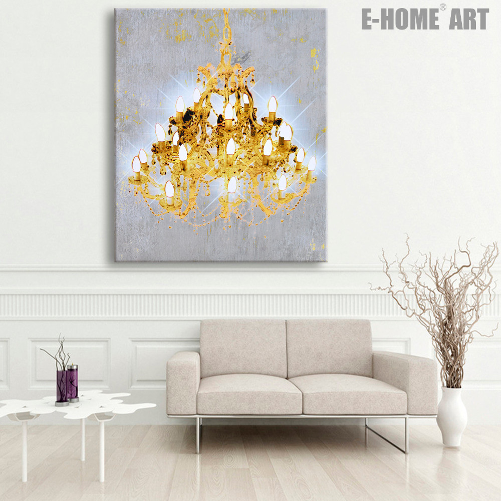 Free Stretched Canvas Prints A Chandelier Led Flashing Optical Fiber Print Wall Art Decorations In Painting Calligraphy From Home
