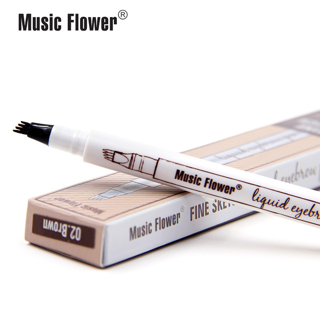 Music Flower 3 colors microblading eyebrow tattoo pen Tint Natural Long Lasting Waterproof Brown Fork tip Eyebrow Pencil 2