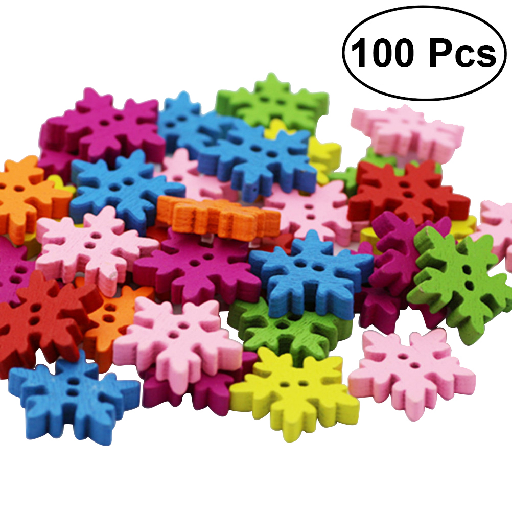 Buttons Apparel Sewing & Fabric 100pcs Christmas Holiday Wooden Collection Snowflakes Buttons Snowflakes Embellishments 18mm Creative Decoration