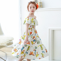 Retail New Summer Baby Girl Print Flower Girl Dress For Wedding Girls Party Dress With Bow