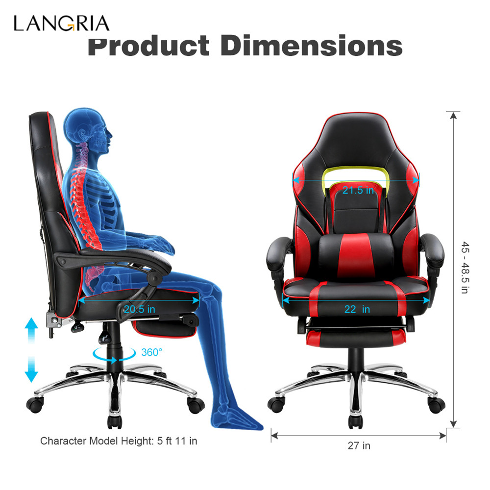 LANGRIA Ergonomic High-Back Faux Leather Racing Style Reclining Computer Gaming Executive Office Chair with Padded Footrest and Lumber Cushion20