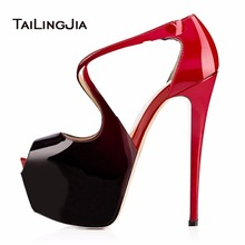 Women High Heels Peep Toe Pumps Strappy Buckle Ladies Shoes Patent Leather Summer Fall Platform Shoes Plus Size 46 Free Shipping цены онлайн
