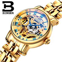 Switzerland luxury Women's watches BINGER brand Hollow Out Mechanical Wristwatches sapphire full stainless steel clock B-5066L3