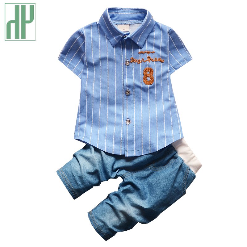 HH baby boy clothing Cotton Gentleman suit Fashion Stripe T-shirt + Jeans two piece set Summer newborn clothes 1st birthday new spring and summer baby boy clothing set gentleman newborn clothes set bow plaid long sleeve shirt overalls baby suit xl131