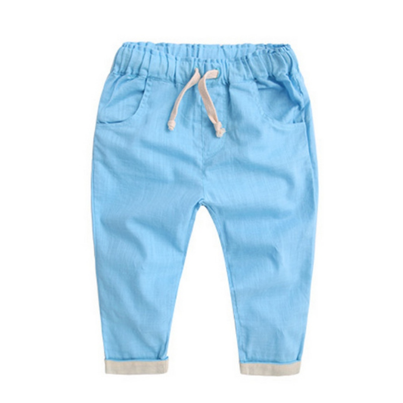 Kids Baby Mid Loose Drawstring Cotton Long Pants Toddler Girls Boys Harem Solid Fashion Soft Trousers 2-7 T 2017 new women jeans mid waist woman harem pants denim drawstring light loose patchwork trousers spliced summer length