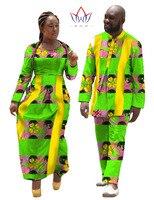 Африканские платья для 2016 Женская обувь Новое осеннее платье одежда для пар для любителей Африканский принт комплект из 2 частей Футболка Д