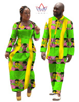 African Dresses for Women 2016 New Autumn Dress Couple Clothes for Lovers African Print 2 Piece Set t Shirt Men Clothing WYQ11