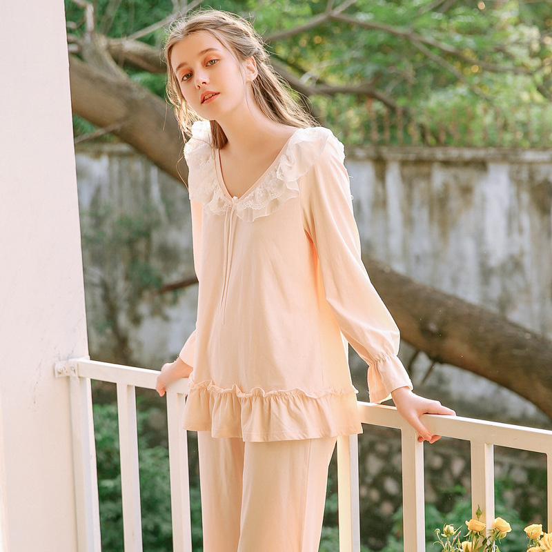 Women Pure Cotton   Pajamas     Set   Princess Court Long-sleeved Lace Lady Lovely Tops and Trousers Suit Korean Pijama for Women 812218