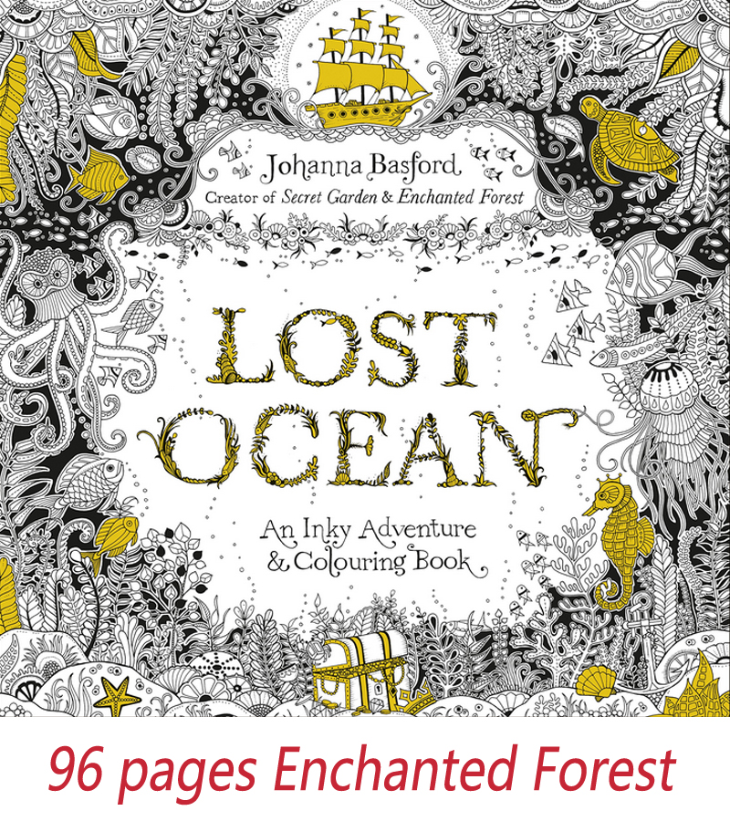 96 pages English original Lost Ocean Secret Garden series graffiti coloring coloring of the decompression coloring book tropical wonderland 30 pages english secret garden rainforest large size postcard coloring book painting graffiti decompression