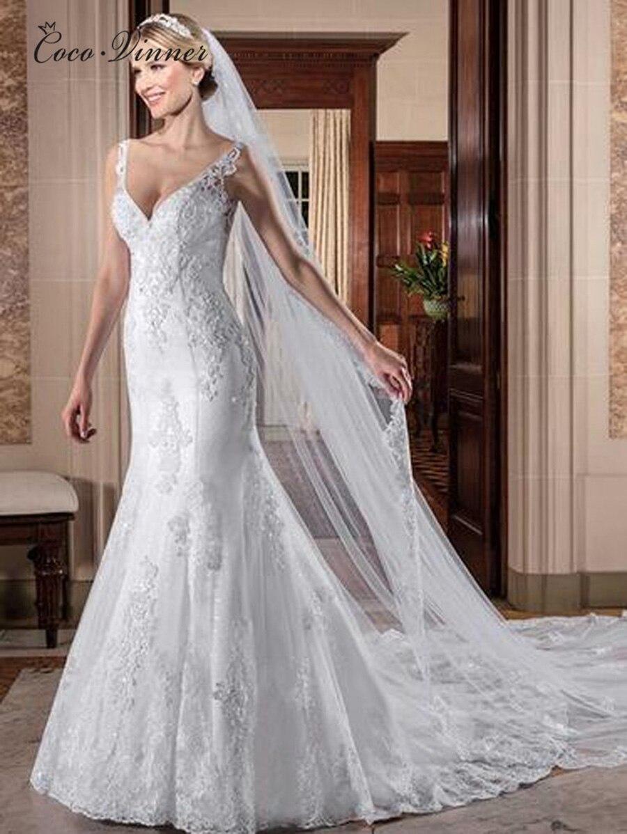 Sleeveless Elegant V neck Mermaid Wedding Dress vestidos de novia 2019 Embroidery Beading Bride Dress Lace
