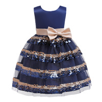 3 10 Years Girls Navy Gold Sequins Party Dresses