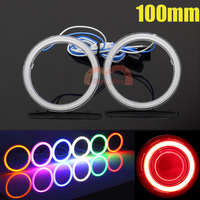 2pcs 100mm Car Motorcycle Universal Headlight DRL Angel Eyes Halo Rings Cob LED Lights White Red