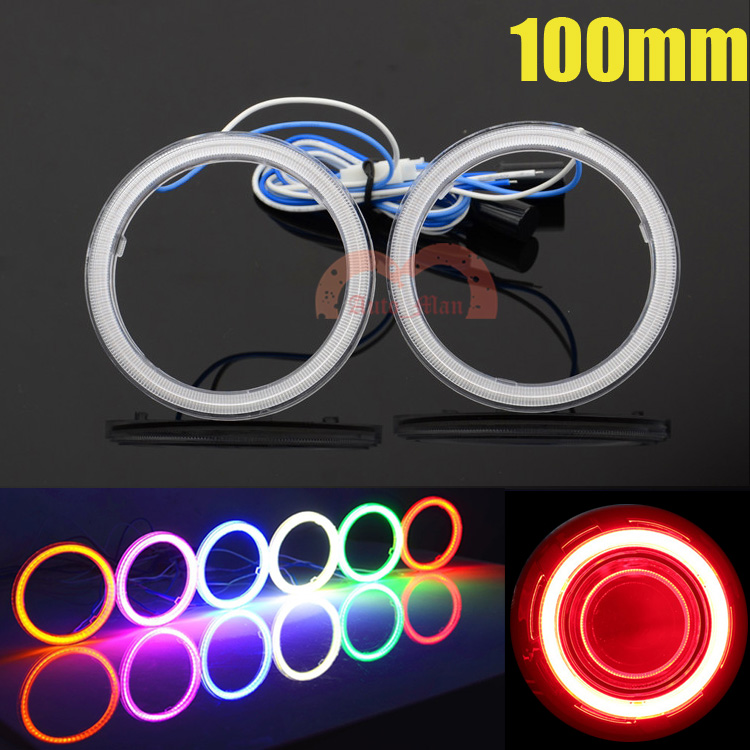 2pcs 100mm Car Motorcycle Universal Headlight DRL Angel Eyes Halo Rings Cob LED Lights White/Red/Blue/Green/Yellow/Purple 92mm ext diameter 2pcs super bright led angel eyes rings with dimming function white red orange green blue optionally