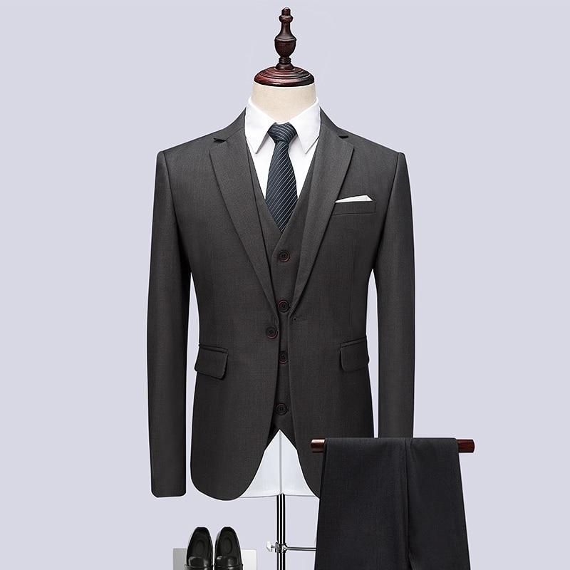 (Jacket+Vest+Pants) 2018 Men Suits Fashion Party dresses Mens Slim Fit business Classic grey Wedding suit big full size M-6XL