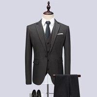 (Jacket+Vest+Pants) 2018 Men Suits Fashion Party dresses Men's Slim Fit business Classic grey Wedding suit big full size M 6XL