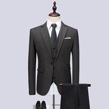 (Куртка + жилет + штаны) 2018 Для мужчин костюмы модные вечерние платья Для мужчин Slim Fit бизнес классический серый Свадебный костюм большой полный размер M-6XL