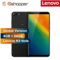 Глобальная версия lenovo K9 Note 4 Гб 64 Гб разблокированные сотовые телефоны 6 дюймовый 18:9 Восьмиядерный Android смартфон сзади 16MP спереди 8MP Камера