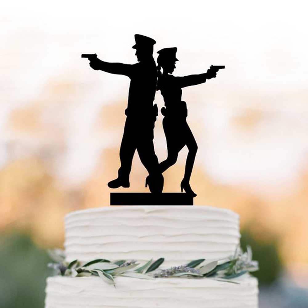 Wedding Cake Topper ,Mr with Mrs police Wedding Cake topper, police couple silhouette wedding cake decor Supplies