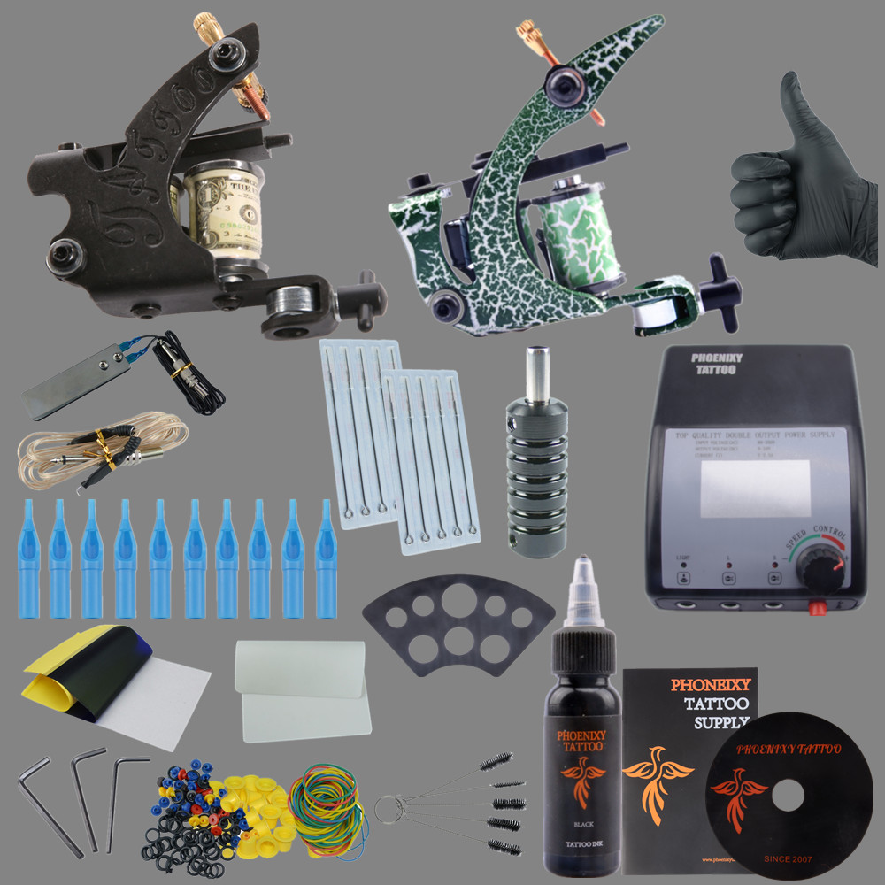 Complete Tattoo kits hotsales 2 tattoo machines guns kits with power needles suppliesTattoo Set Tattoo Kit Professional professional tattoo kits liner and shader machines immortal ink needles sets power supply