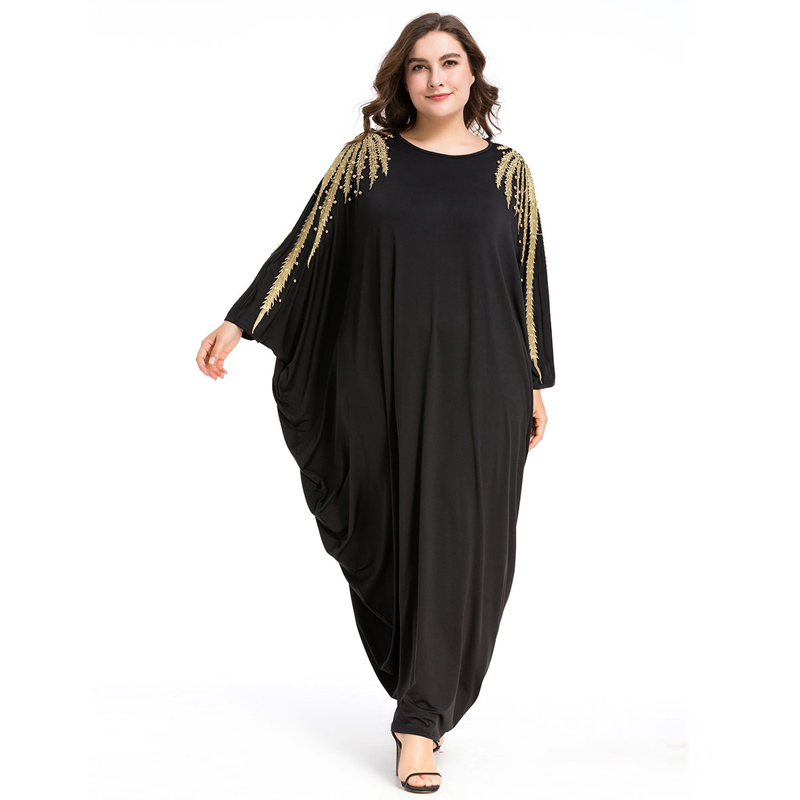 Plus Women Beading Long Sleeve Muslim Arabic Dress Turkish Gown Dubai  Moroccan Kaftan Islamic Abaya Ramadan Clothing Jalabiya e8077a68488