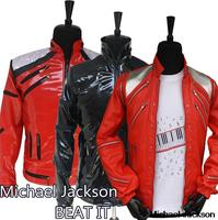 HOT Punk Red Zipper Michael Jackson MJ Beat It Casual Tailor Made America Fashion Style Jacket Outwear Imitation 3 colors