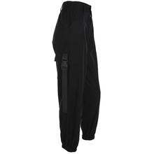 HEYounGIRL Streetwear Cargo Spodnie damskie casual Joggersy czarny wysokiej talii luźne damskie spodnie koreański styl Panie spodnie Capri tanie tanio Kobiet yyP030078Z Pełna długość heyoungirl-dziewczyna Fałszywe zamki błyskawiczne kieszenie Sukno Płaskie Spandex bawełna
