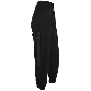 Image 4 - HEYounGIRL Streetwear מכנסיים מטען נשים רצים מקרית שחור גבוה מותן רופף נשי מכנסיים קוריאני סגנון גבירותיי מכנסיים קאפרי