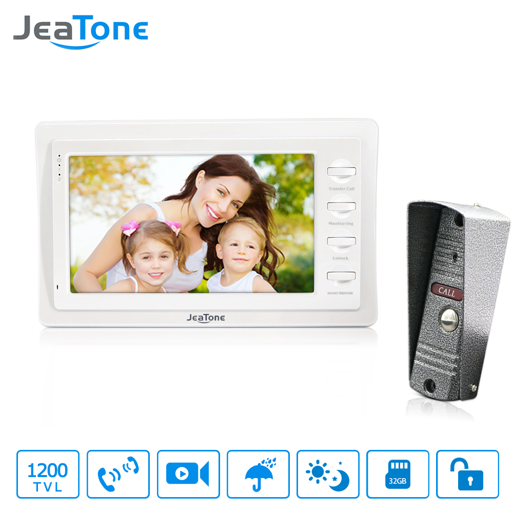 Jeatone 7 wired doorbell With Storage White Color HD Video Doorphone Intercom Systems 1200TVL Camera Home
