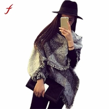 Feitong Winter Warm Scarf Women Faux Cashmere Blanket Scarf Large Tartan Tassels Shawls And Scarves Stole