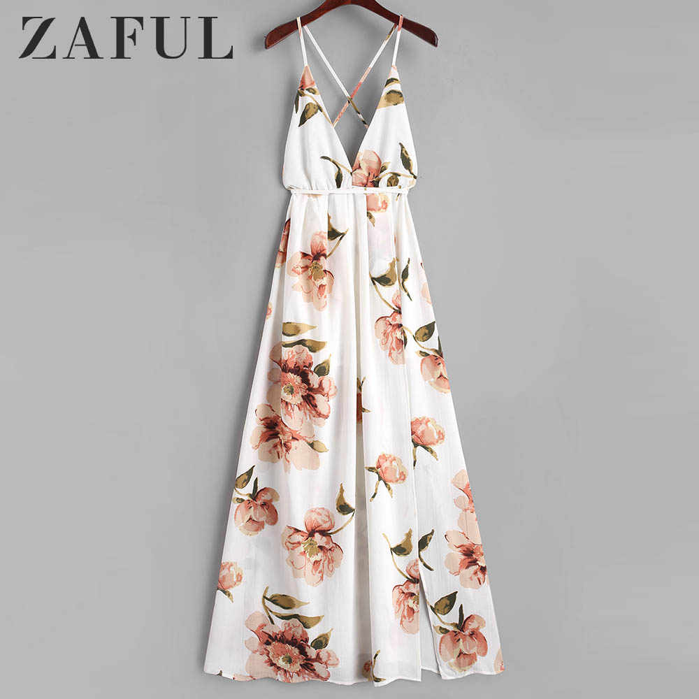 Zaful Criss Cross Celah Floral Maxi Dress Halter Tali Pinggang Tinggi Bunga BoHo Gaun Vestidos Backless Hollow Out Gaun Pantai