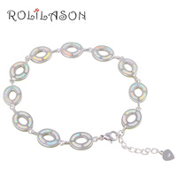 ROLILASON Friendship Bracelets For Women Trendy White Fire Opal Silver Stamped Anniversary Fashion Jewelry OB067