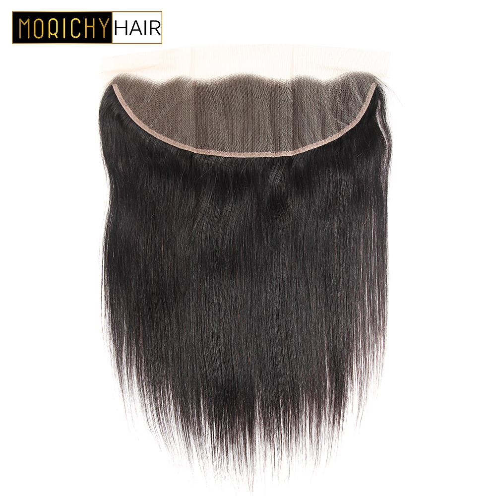 MORICHY Straight Hair Lace Frontal 13*4 Ear to Ear Free Part Pre Plucked Lace Frontal Closure 100% Remy Human Hair Natural Color
