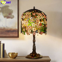 FUMAT Table Lamp Tiffany Style Copper Bases Grape Flowers Stained Glass Shade Art Home Deco Desk Light Antique LED Bedroom Lamp